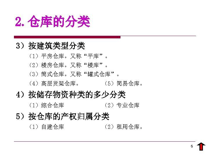 """2. 仓库的分类 3)按建筑类型分类 (1)平房仓库。又称""""平库""""。 (2)楼房仓库。又称""""楼库""""。 (3)筒式仓库。又称""""罐式仓库""""。 (4)高层货架仓库。 (5)简易仓库。 4)按储存物资种类的多少分类 (1)综合仓库 (2)专业仓库 5)按仓库的产权归属分类 (1)自建仓库 (2)租用仓库。"""