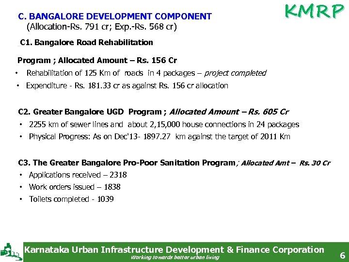 C. BANGALORE DEVELOPMENT COMPONENT (Allocation-Rs. 791 cr; Exp. -Rs. 568 cr) KMRP C