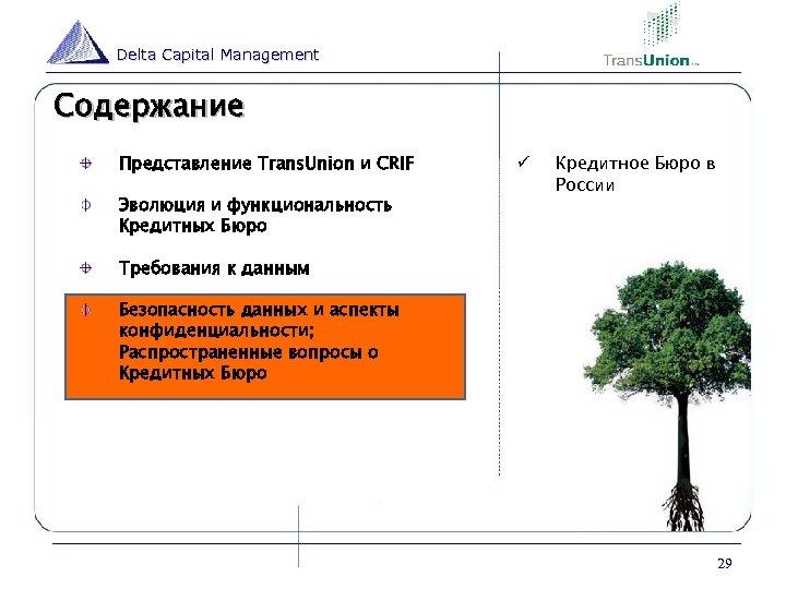 Delta Capital Management Содержание Представление Trans. Union и CRIF Эволюция и функциональность Кредитных Бюро