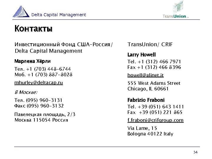 Delta Capital Management Контакты Инвестиционный Фонд США-Россия/ Delta Capital Management Марлена Хёрли Тел. +1