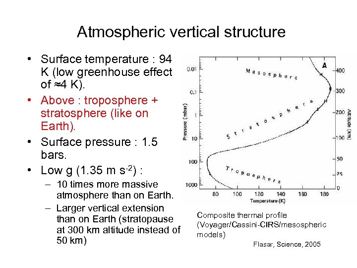 Atmospheric vertical structure • Surface temperature : 94 K (low greenhouse effect of ≈4