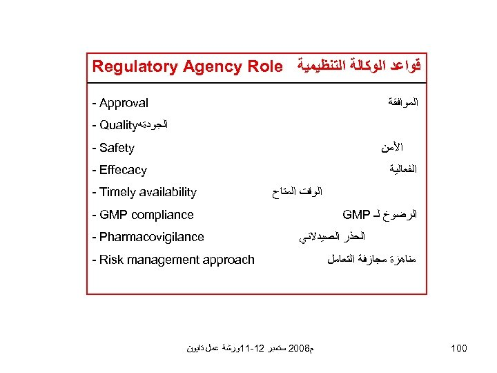 Regulatory Agency Role ﻗﻮﺍﻋﺪ ﺍﻟﻮﻛﺎﻟﺔ ﺍﻟﺘﻨﻈﻴﻤﻴﺔ - Approval ﺍﻟﻤﻮﺍﻓﻘﺔ - Quality ﺍﻟﺠﻮﺩﺓﻪ - Safety