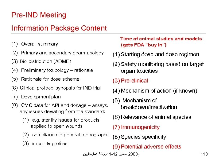 """Pre-IND Meeting Information Package Content Time of animal studies and models (gets FDA """"buy"""