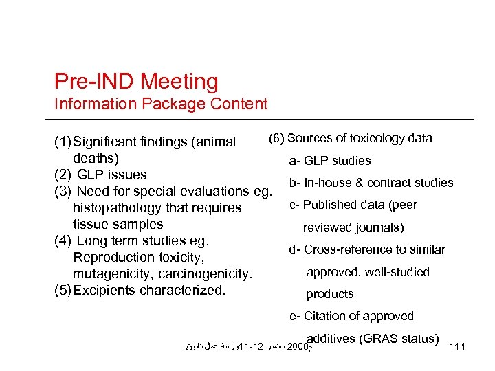 Pre-IND Meeting Information Package Content (6) Sources of toxicology data (1) Significant findings (animal