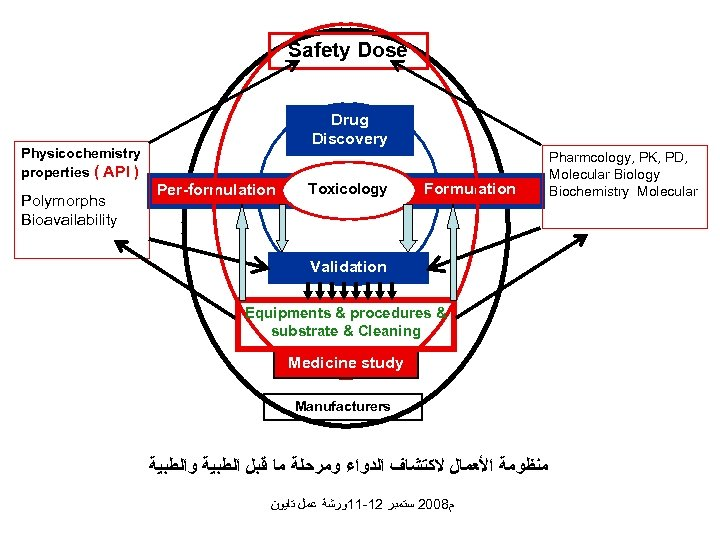 Safety Dose Physicochemistry properties ( API ) Polymorphs Bioavailability Drug Discovery Per-formulation Toxicology Formulation