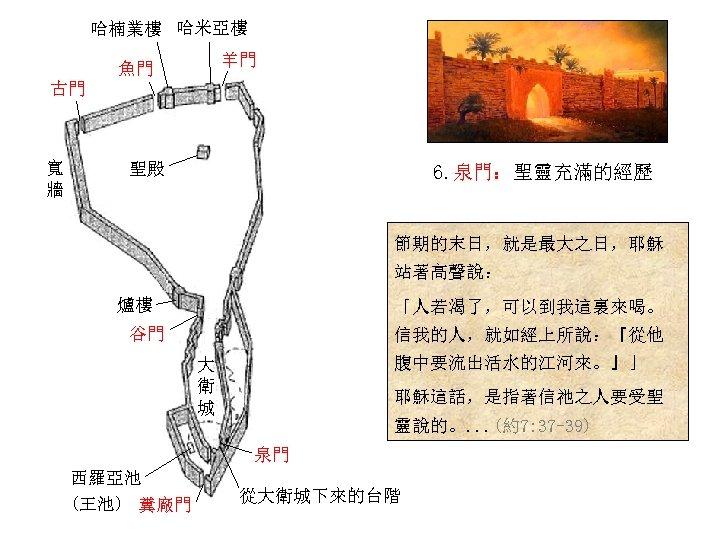 哈楠業樓 哈米亞樓 羊門 魚門 古門 寬 牆 聖殿 6. 泉門:聖靈充滿的經歷 節期的末日,就是最大之日,耶穌 站著高聲說: 爐樓 「人若渴了,可以到我這裏來喝。