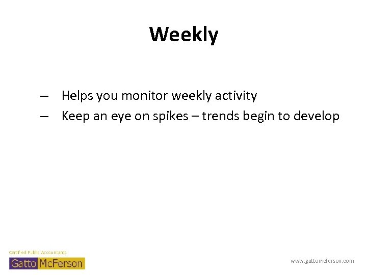 Weekly – Helps you monitor weekly activity – Keep an eye on spikes –