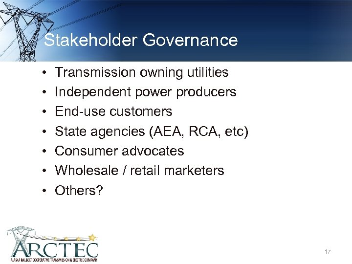 Stakeholder Governance • • Transmission owning utilities Independent power producers End-use customers State agencies
