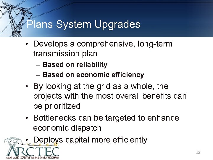 Plans System Upgrades • Develops a comprehensive, long-term transmission plan – Based on reliability
