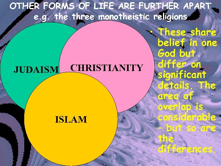 OTHER FORMS OF LIFE ARE FURTHER APART e. g. the three monotheistic religions •