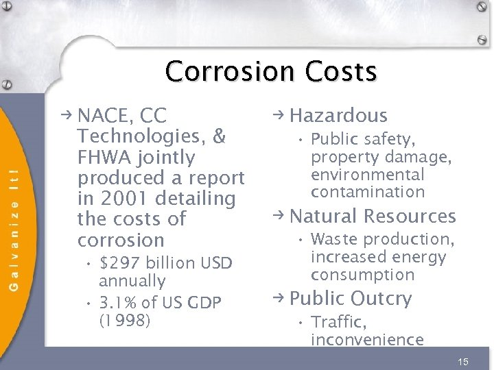 Corrosion Costs NACE, CC Technologies, & FHWA jointly produced a report in 2001 detailing
