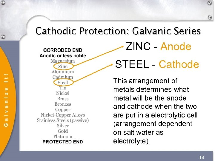 Cathodic Protection: Galvanic Series ZINC - Anode STEEL - Cathode This arrangement of metals