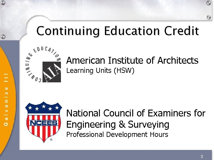 Continuing Education Credit American Institute of Architects Learning Units (HSW) National Council of Examiners