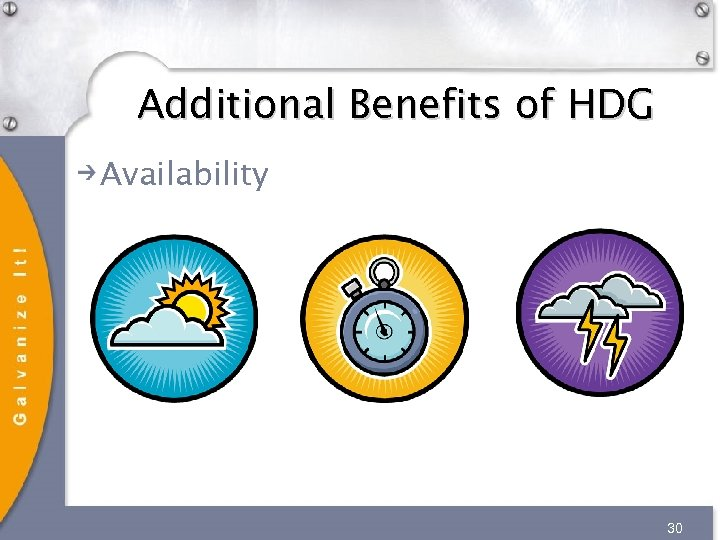 Additional Benefits of HDG Availability 30