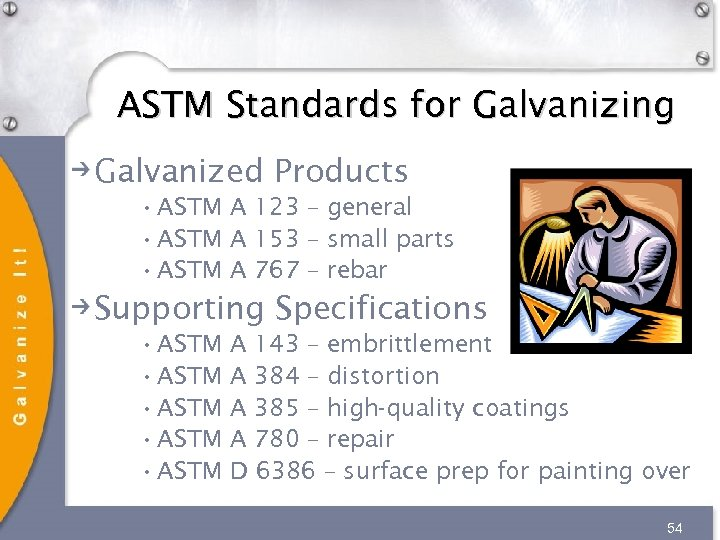 ASTM Standards for Galvanizing Galvanized Products • ASTM A 123 – general • ASTM