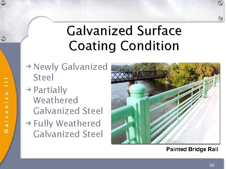 Galvanized Surface Coating Condition Newly Galvanized Steel Partially Weathered Galvanized Steel Fully Weathered Galvanized
