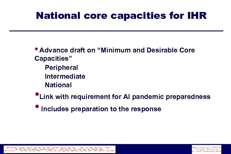 "National core capacities for IHR • Advance draft on ""Minimum and Desirable Core Capacities"""