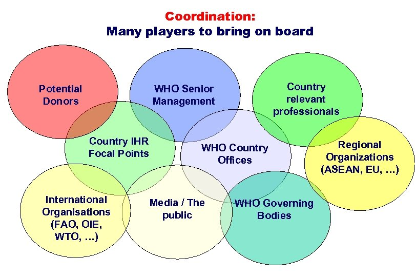 Coordination: Many players to bring on board Potential Donors Country relevant professionals WHO Senior