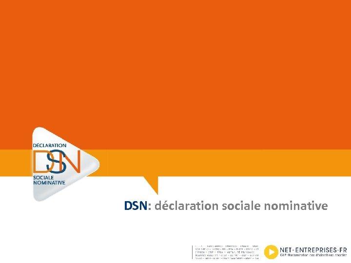 DSN: déclaration sociale nominative