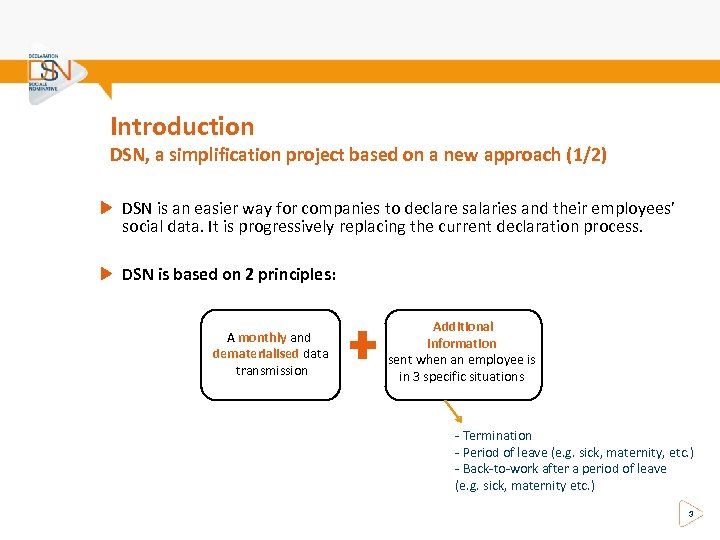 Introduction DSN, a simplification project based on a new approach (1/2) DSN is an