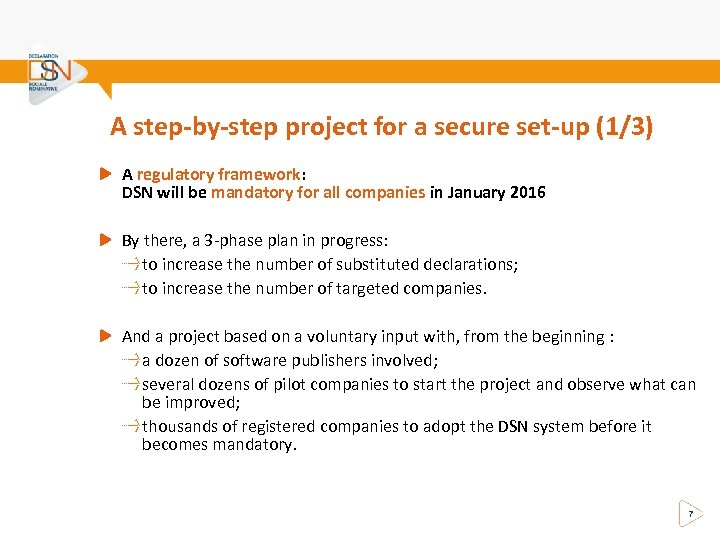 A step-by-step project for a secure set-up (1/3) A regulatory framework: DSN will be