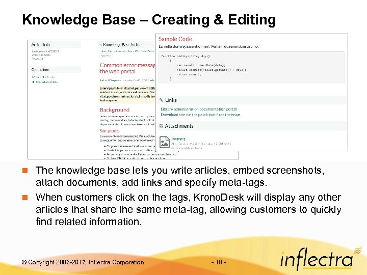 Knowledge Base – Creating & Editing The knowledge base lets you write articles, embed