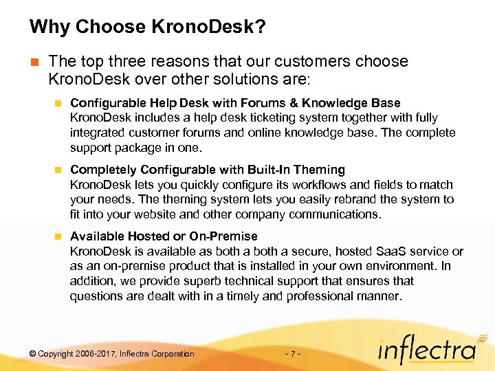 Why Choose Krono. Desk? n The top three reasons that our customers choose Krono.