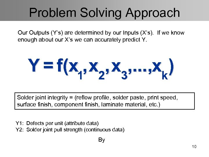Problem Solving Approach Our Outputs (Y's) are determined by our Inputs (X's). If we