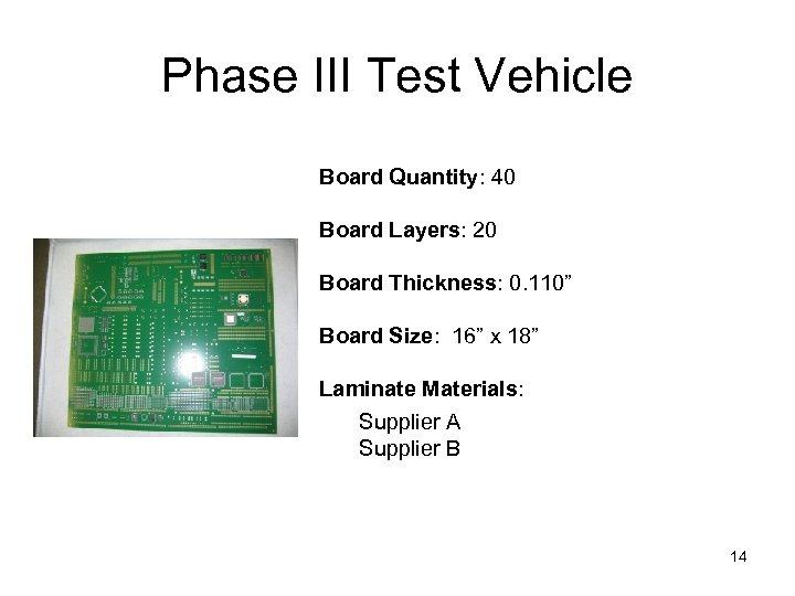 Phase III Test Vehicle Board Quantity: 40 Board Layers: 20 Board Thickness: 0. 110""
