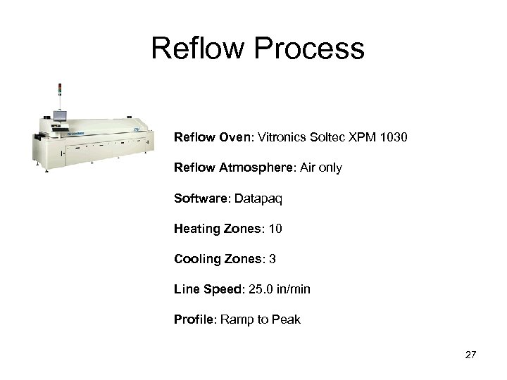 Reflow Process Reflow Oven: Vitronics Soltec XPM 1030 Reflow Atmosphere: Air only Software: