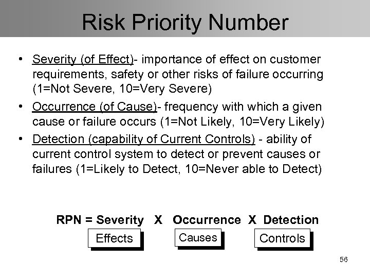 Risk Priority Number • Severity (of Effect)- importance of effect on customer requirements, safety