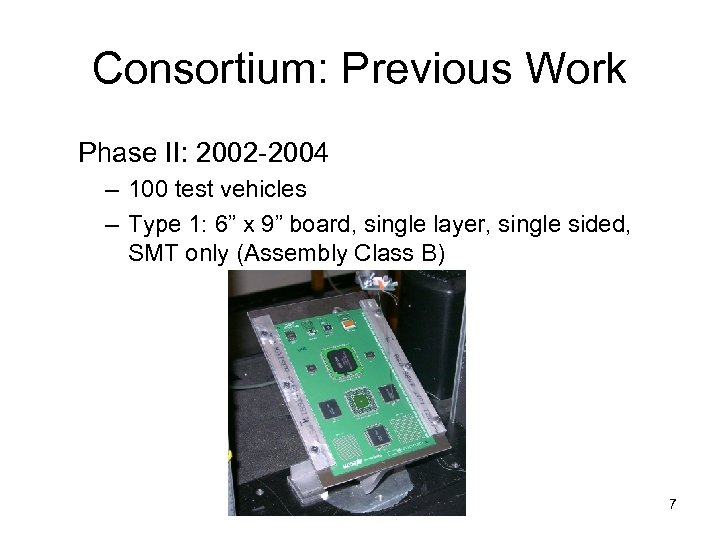Consortium: Previous Work Phase II: 2002 -2004 – 100 test vehicles – Type 1: