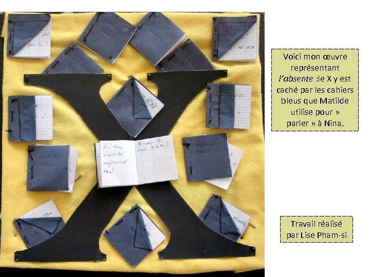 Voici mon œuvre représentant l'absente : le X y est caché par les cahiers