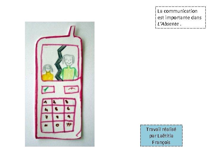 La communication est importante dans L'Absente. Travail réalisé par Laëtitia François