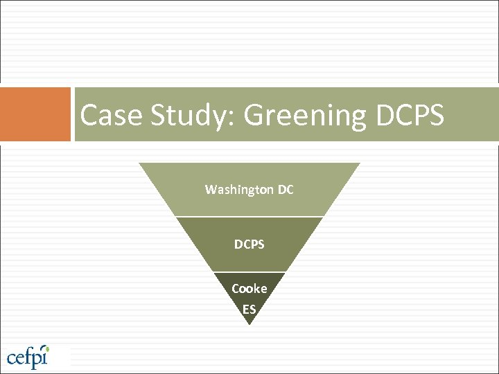 Case Study: Greening DCPS Washington DC DCPS Cooke ES