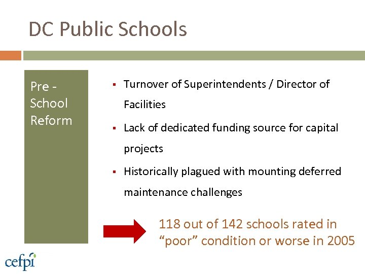 DC Public Schools Pre School Reform § Turnover of Superintendents / Director of Facilities