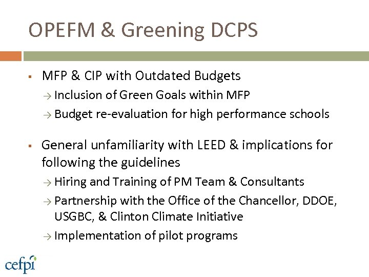 OPEFM & Greening DCPS § MFP & CIP with Outdated Budgets → Inclusion of