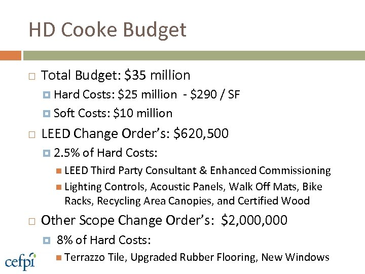 HD Cooke Budget Total Budget: $35 million Hard Costs: $25 million - $290 /