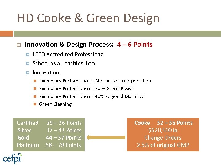 HD Cooke & Green Design Innovation & Design Process: 4 – 6 Points LEED