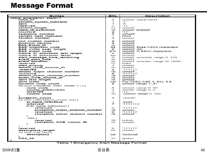 Message Format 2008년2월 최성종 40