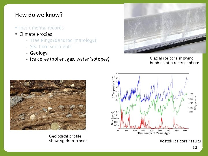 How do we know? • Instrumental records • Climate Proxies ₋ Tree Rings (dendroclimatology)