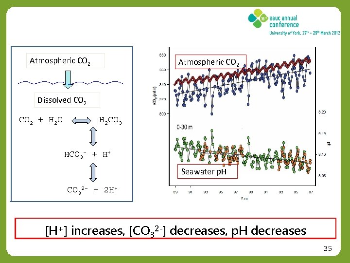 Atmospheric CO 2 Dissolved CO 2 + H 2 O H 2 CO 3