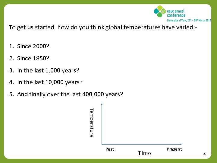 To get us started, how do you think global temperatures have varied: - 1.
