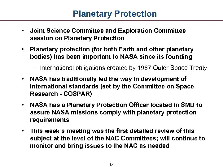 Planetary Protection • Joint Science Committee and Exploration Committee session on Planetary Protection •