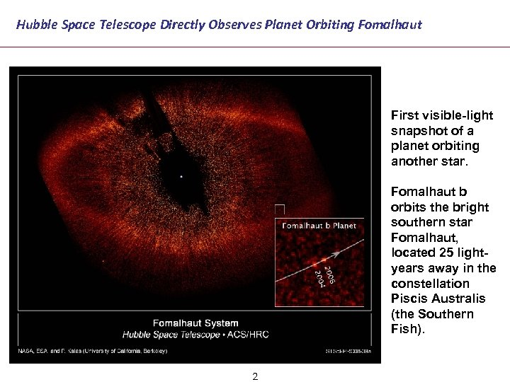 Hubble Space Telescope Directly Observes Planet Orbiting Fomalhaut First visible-light snapshot of a planet
