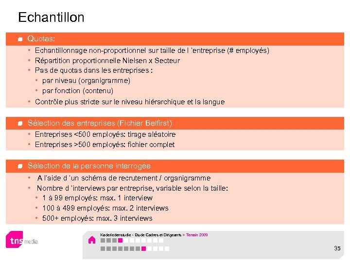 Echantillon Quotas: • Echantillonnage non-proportionnel sur taille de l 'entreprise (# employés) • Répartition