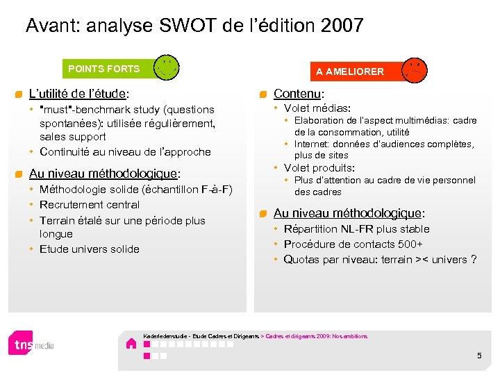 Avant: analyse SWOT de l'édition 2007 POINTS FORTS A AMELIORER L'utilité de l'étude: Contenu: