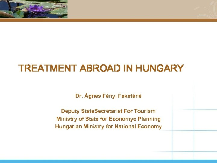 TREATMENT ABROAD IN HUNGARY Dr. Ágnes Fényi Feketéné Deputy State. Secretariat For Tourism Ministry
