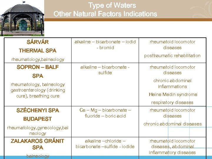 Type of Waters Other Natural Factors Indications SÁRVÁR THERMAL SPA alkaline – bicarbonate –