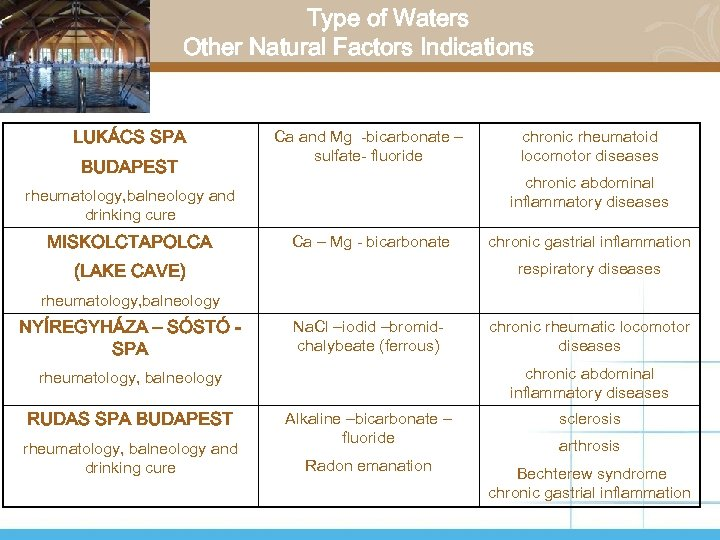Type of Waters Other Natural Factors Indications LUKÁCS SPA BUDAPEST Ca and Mg -bicarbonate